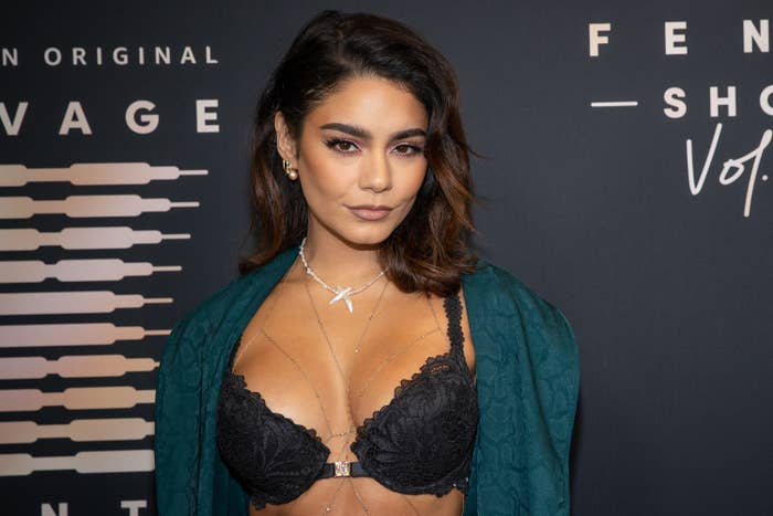 Vanessa Hudgens wears lingerie on the red carpet while posing for a picture
