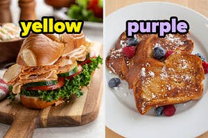 On the left, a turkey sub labeled yellow, and on the right, some French toast topped with powdered sugar, blueberries, and raspberries
