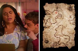 Ruby is sniffing Jasmine's hair on the left with a treasure map on the right