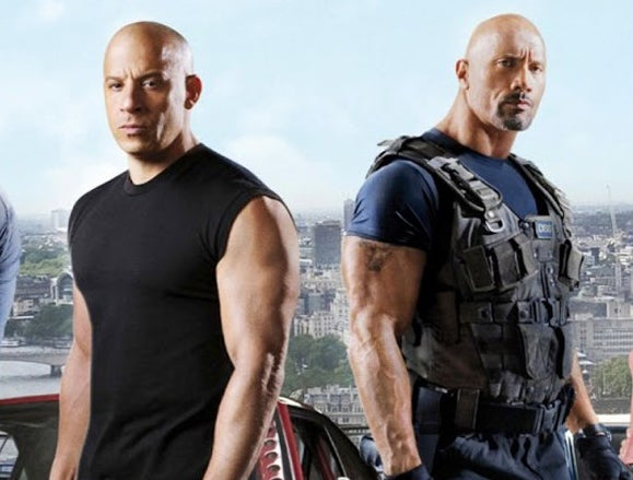 """Vin and Dwayne pose for the """"Fast"""" franchise."""