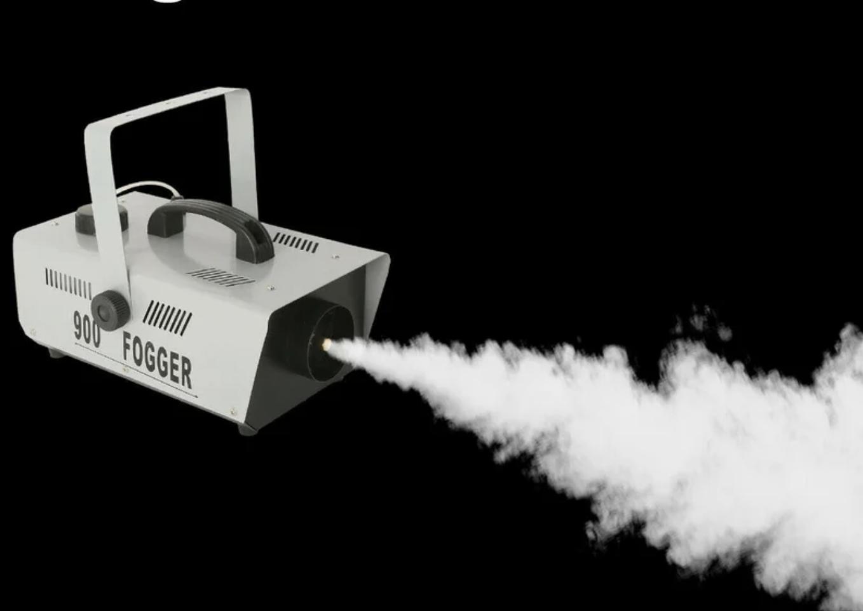 the fog machine spewing fog