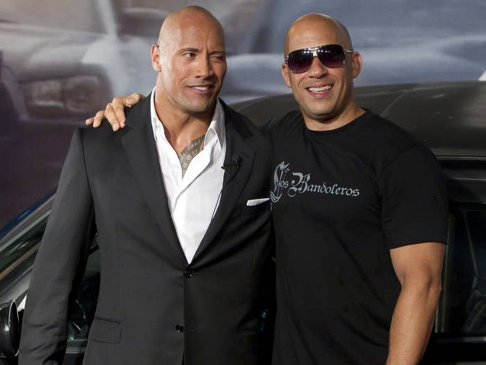 Vin and Dwayne pose together at a premiere.