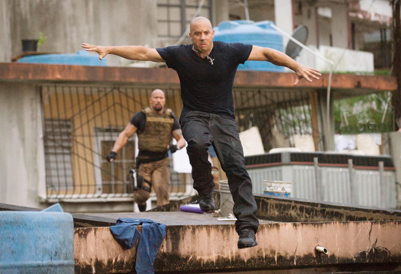 Vin runs from Dwayne in the film.