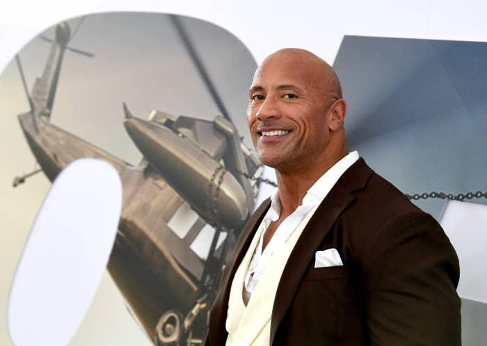 Dwayne Johnson at a movie premiere.