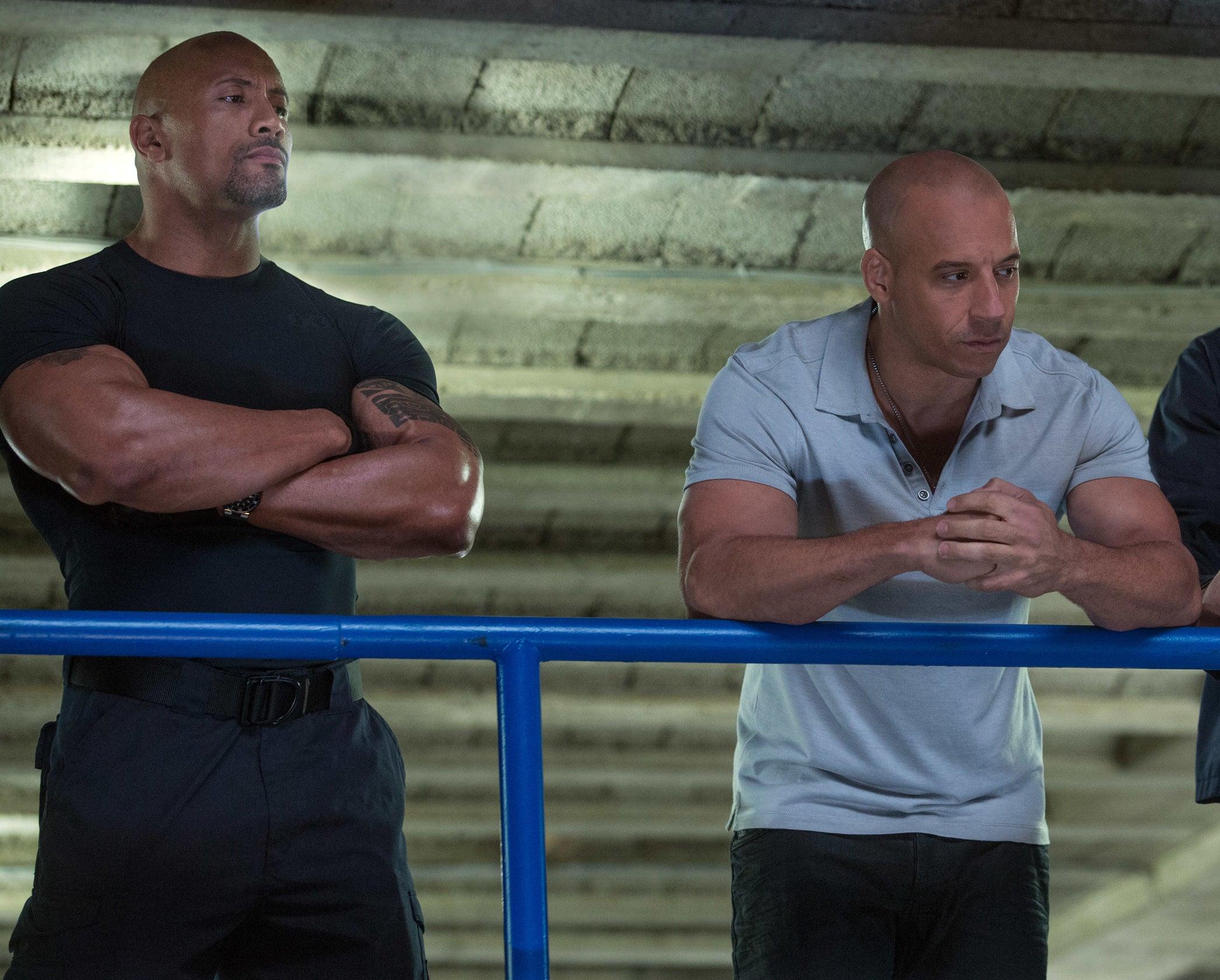 Vin and Dwayne pose together.