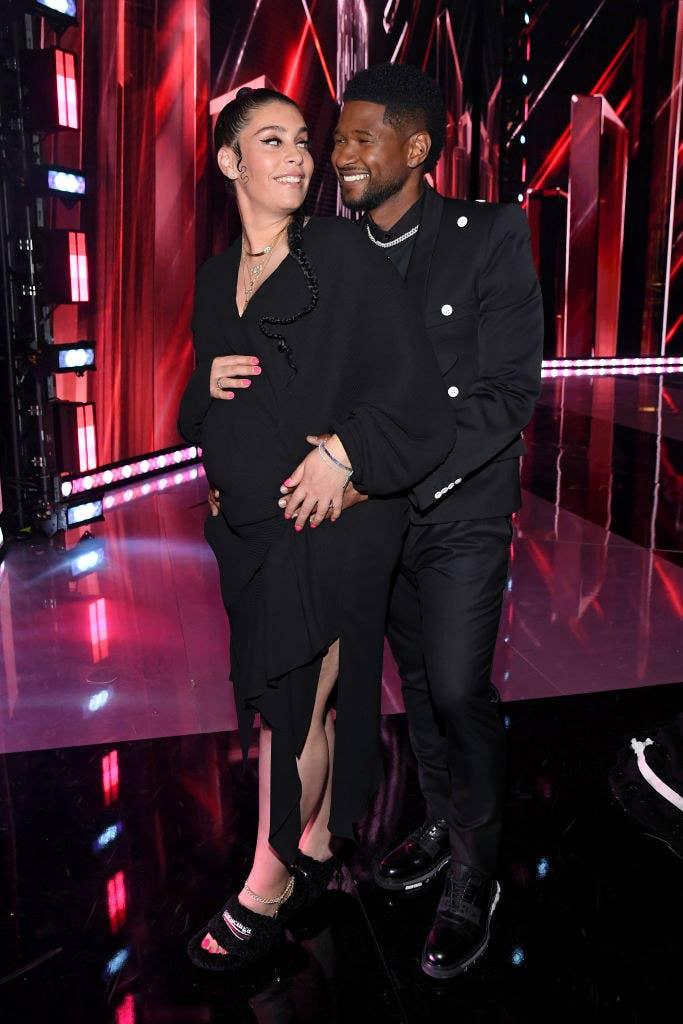 (L-R) Jennifer Goicoechea and Usher attend the 2021 iHeartRadio Music Awards