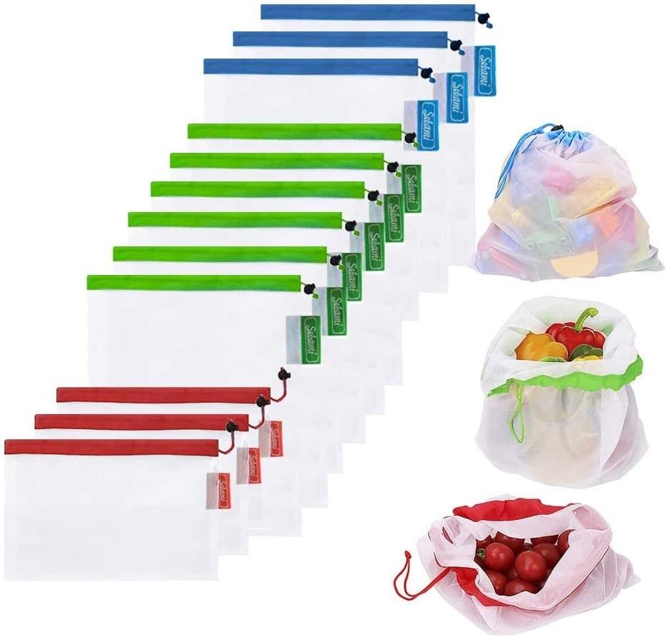 12 bolsas reutilizables de malla