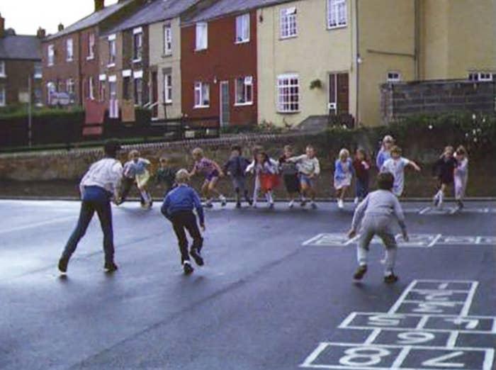 Kids playing bullrush