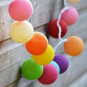 Cotton ball lights on a wall