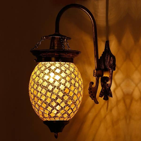 A lit-up wall lamp