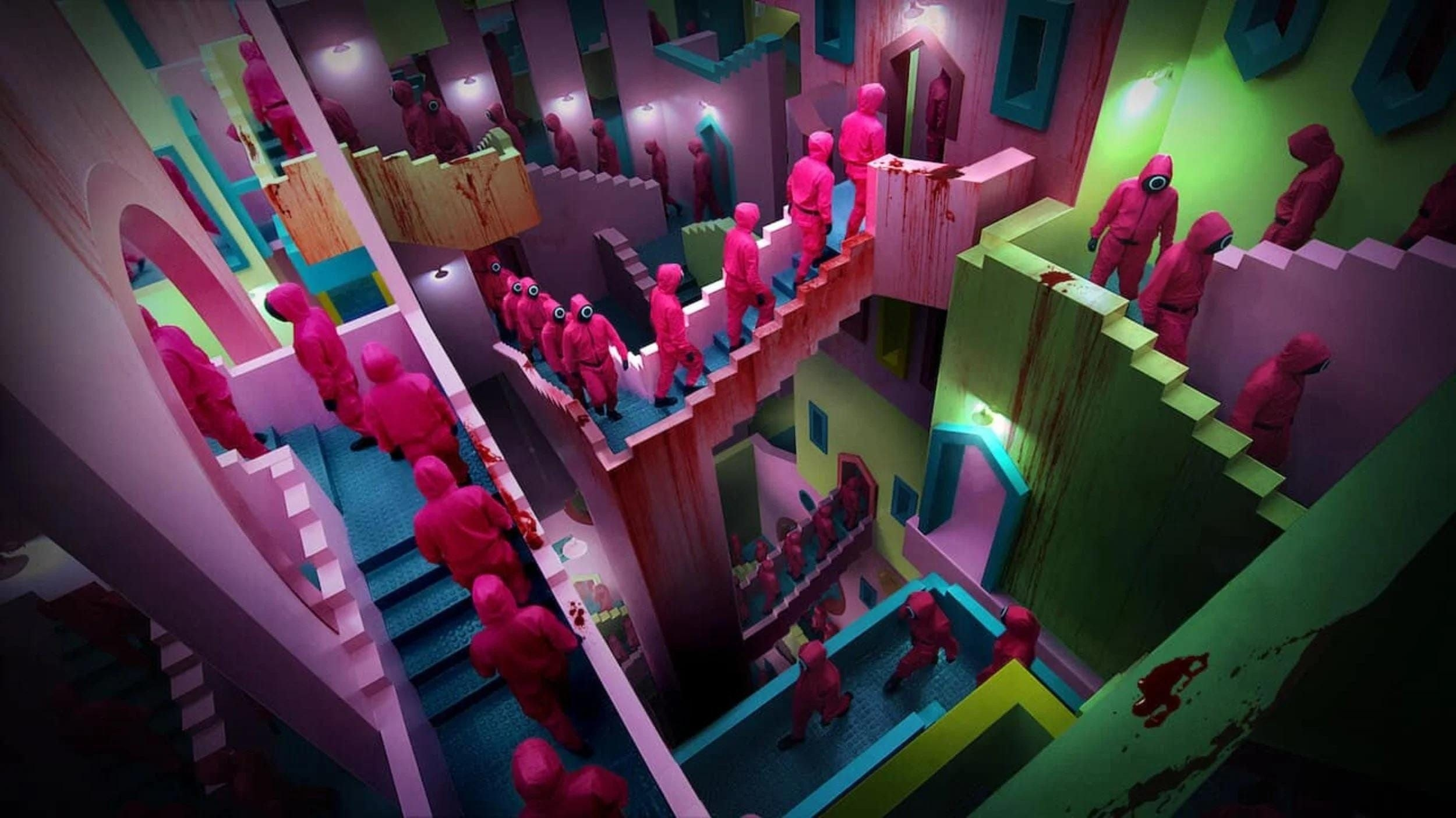 The winding staircases in Squid Game; there are guards walking up and down them