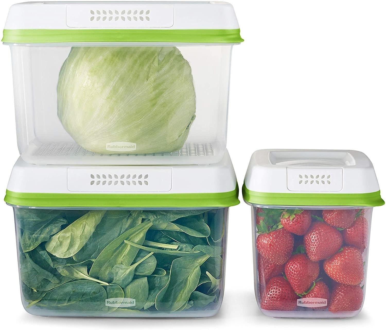 tres tuppers para conservar frutas y verduras