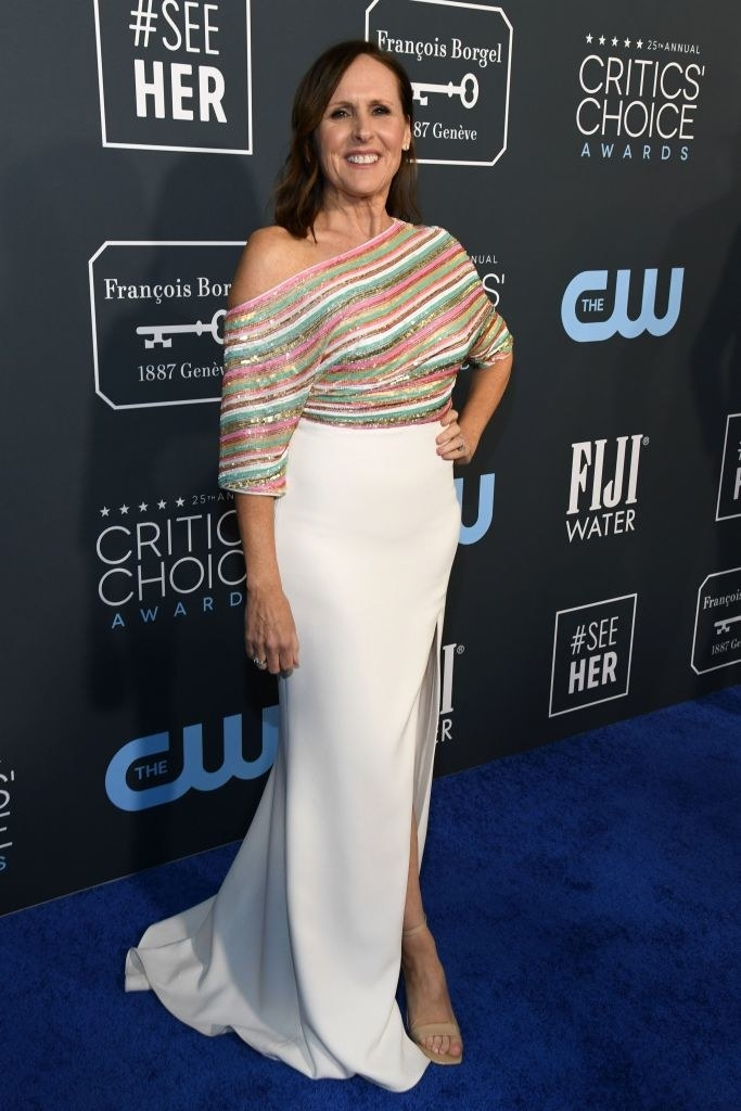 Molly Shannon attends the 25th Annual Critics' Choice Awards in a striped off-the-shoulder dress