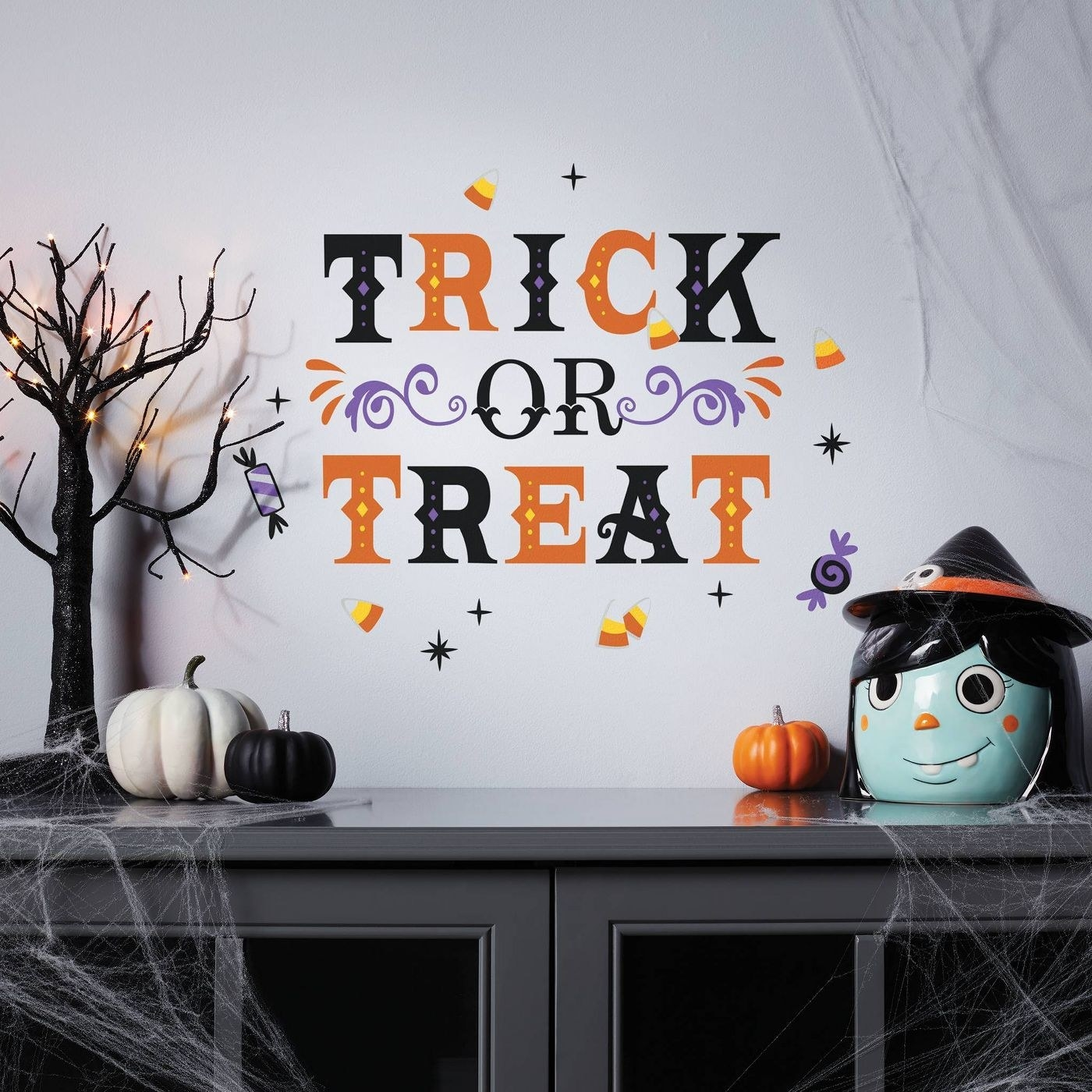 A trick or treat wall decal