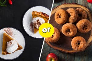 two plates of pumpkin pie slices in the left panel and a plate of apple cider donuts in the right panel