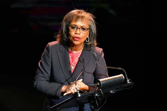 Professor Hill speaking at a podium
