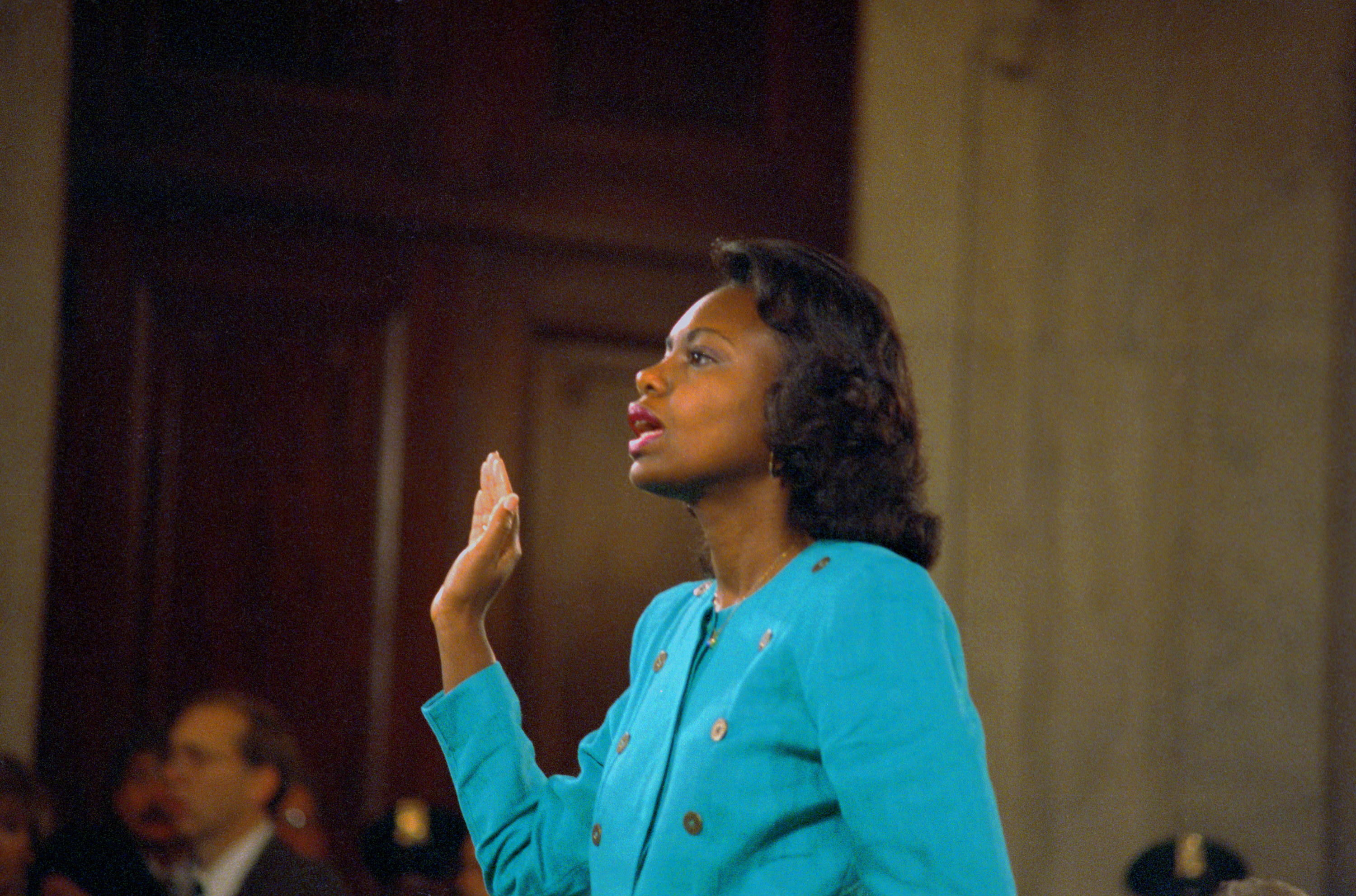 Professor Hill being sworn in before her testimony