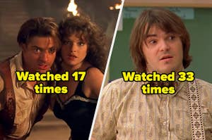 """The Mummy labeled """"watch 17 times"""" and School of Rock labeled """"watch 33 times"""""""