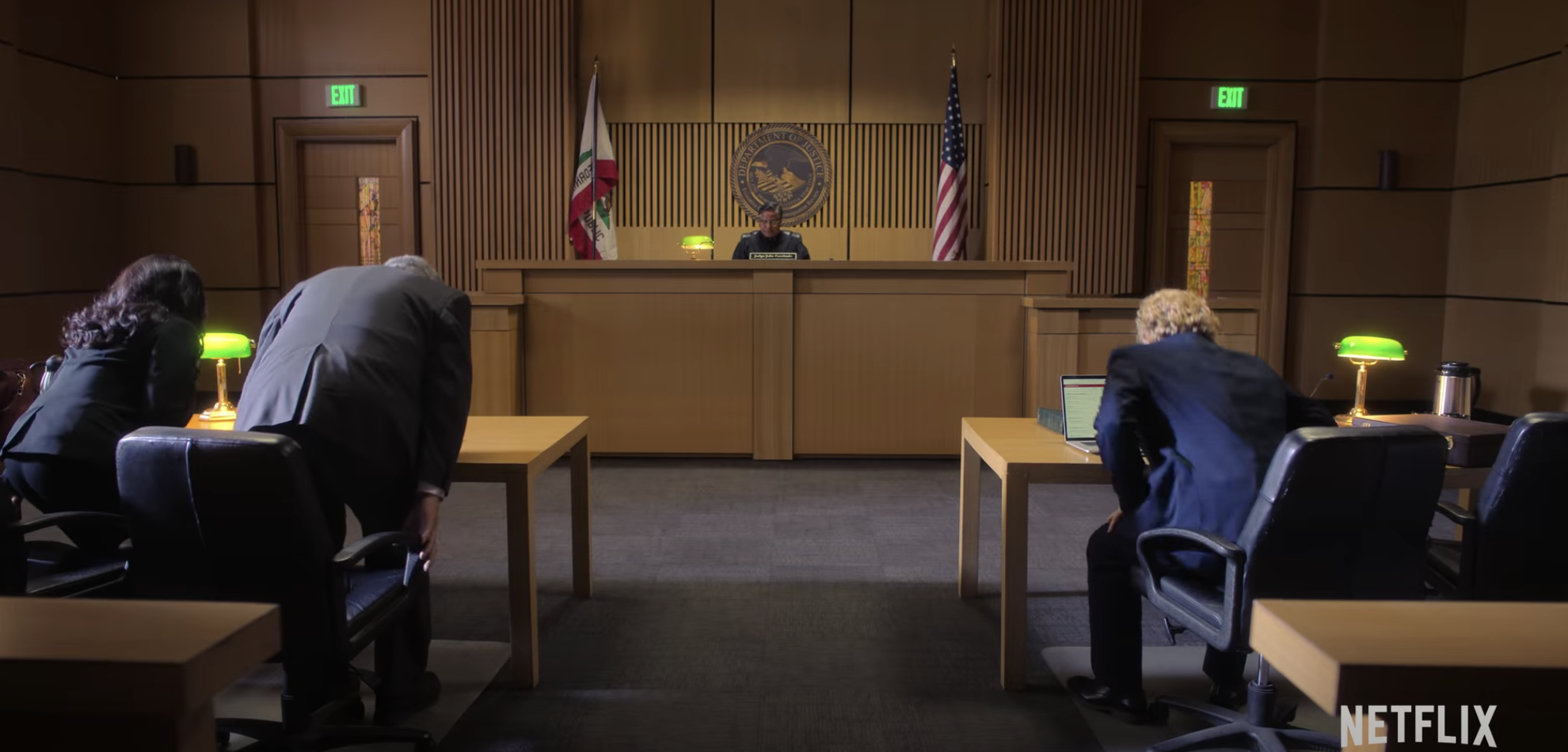 The courtroom during Pop's trial