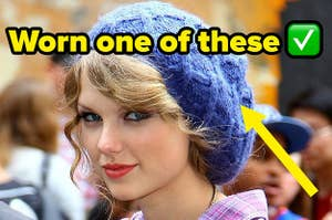 taylor swift and her chunky knit cap