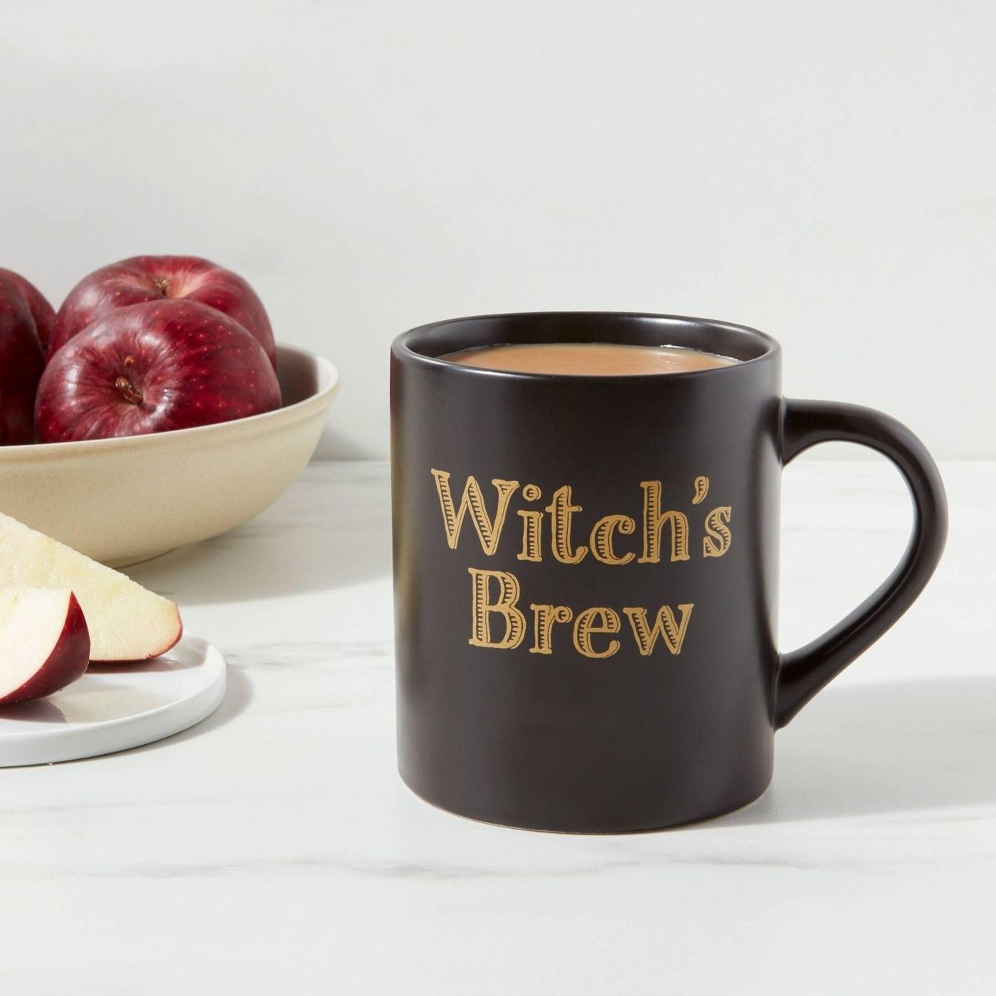 A black coffee mug