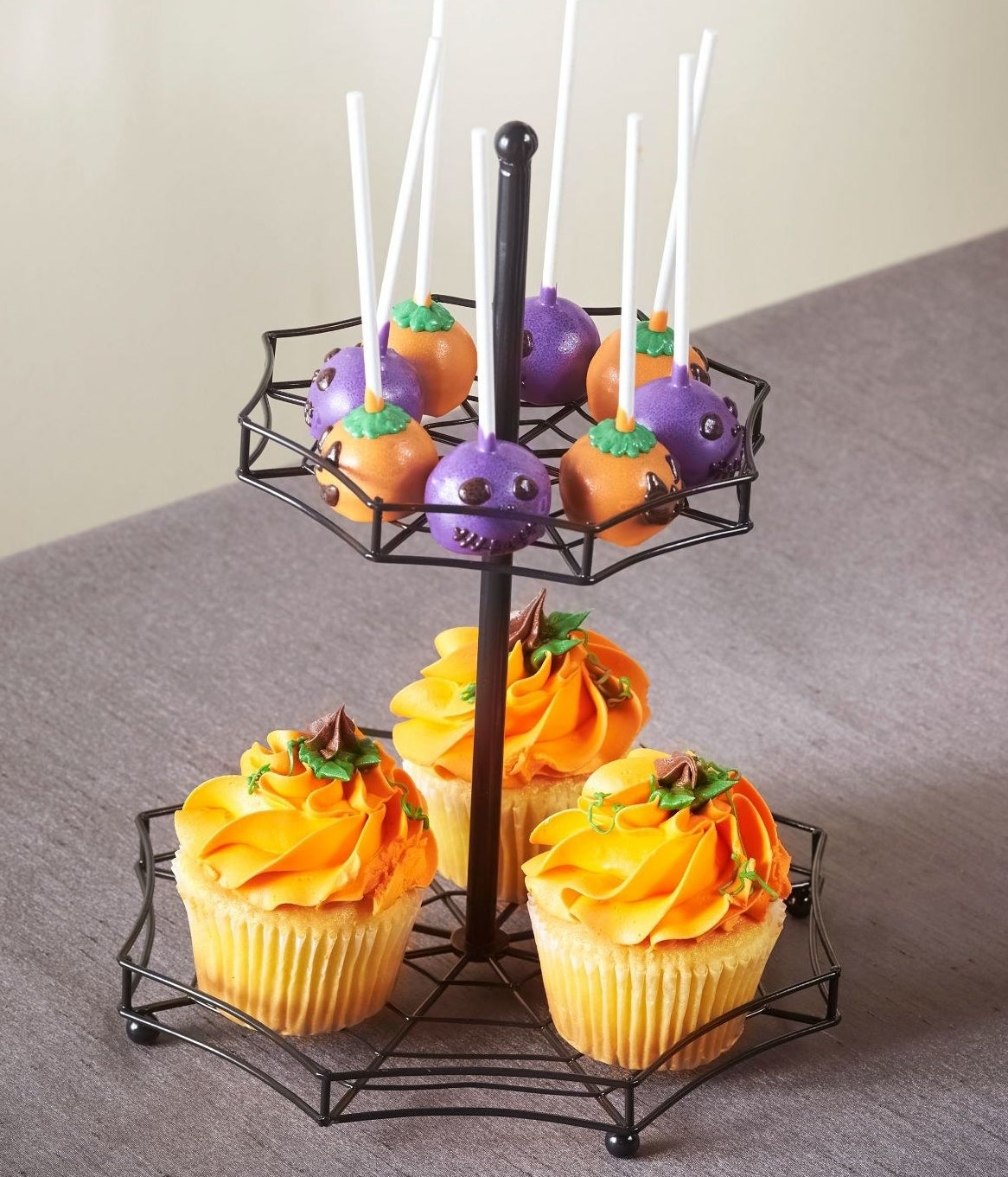 A two tiered serving tray