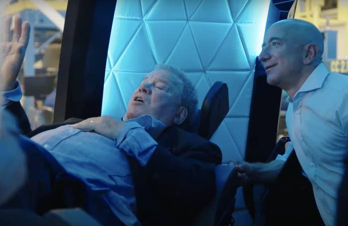 Bezos explaining features of the spacecraft to Shatner prior to today's launch