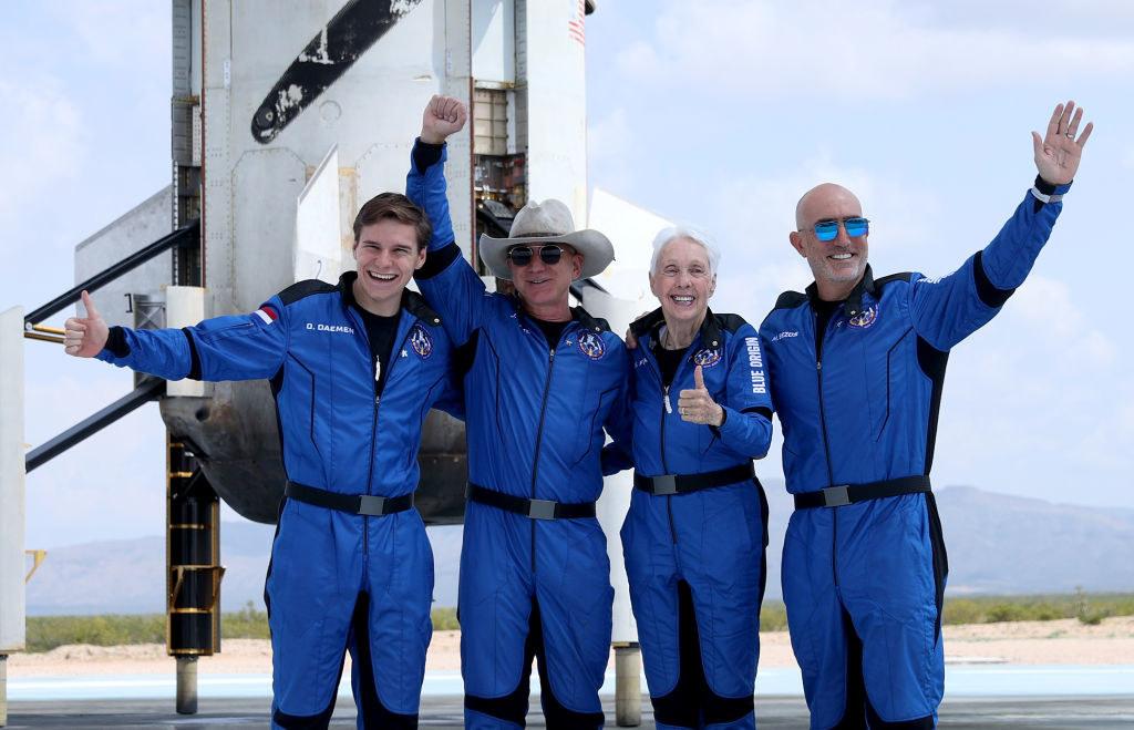 Blue Origin's first human flight crew: Oliver Daemen, Jeff Bezos, Wally Funk and Mark Bezos