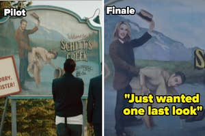 The pilot of Schitt's Creek when the Rose family first sees the sign and the finale episode where they show the brand new sign, now with the Rose family on it.