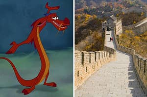 Mushu is holding his hands up on the left with The Great Wall of China on the right