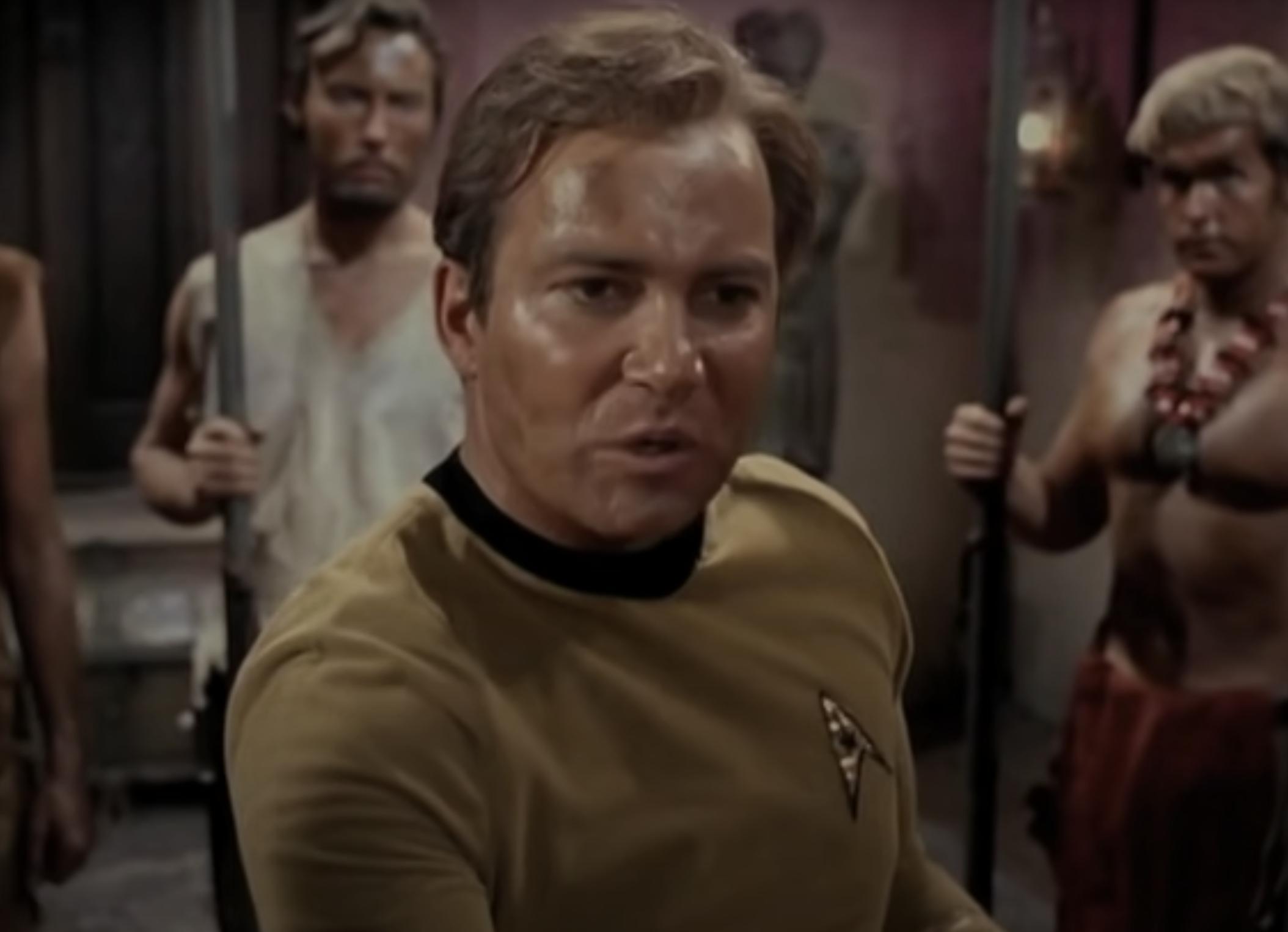 Captain Kirk giving a speech in an episode of Star Trek