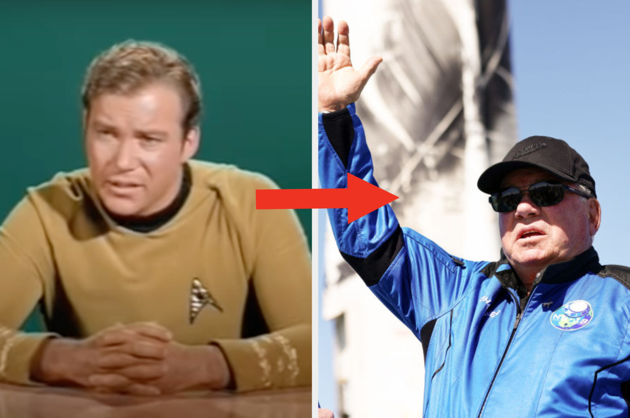 Shatner as Capt. Kirk on the left and Shatner after landing on the right
