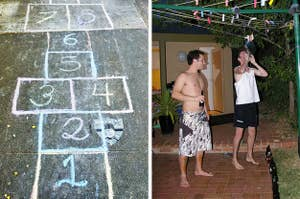 Left: A hopscotch court; Right: Two people playing Goon of Fortune