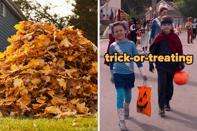 On the left, a pile of fall leaves, and on the right, Billy and Tommy from WandaVision holding trick-or-treat bags and walking down the street of the neighborhood