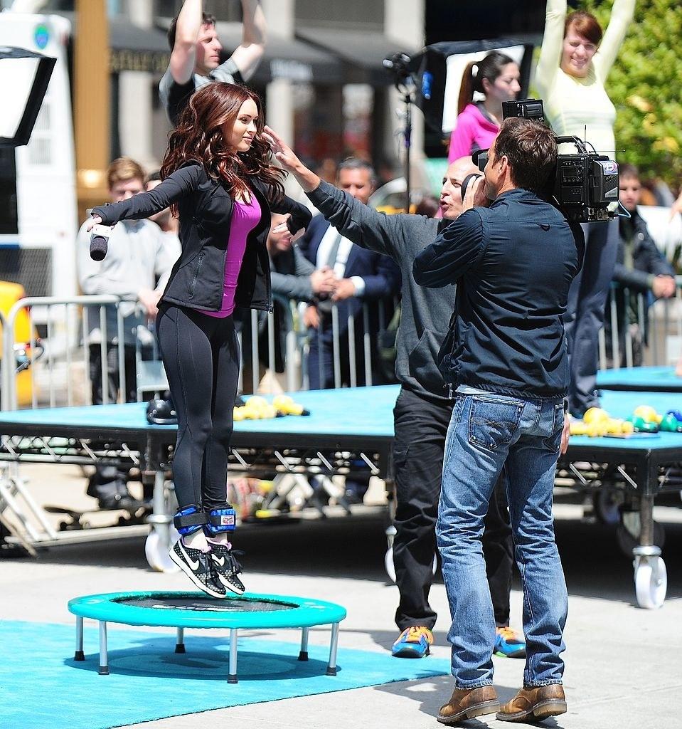 "Megan Fox is seen jumping on a mini trampoline during filming ""Teenage Mutant Ninja Turtles"""
