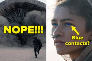 A person running from a sandworm, and a close up of Zendaya with blue eyes