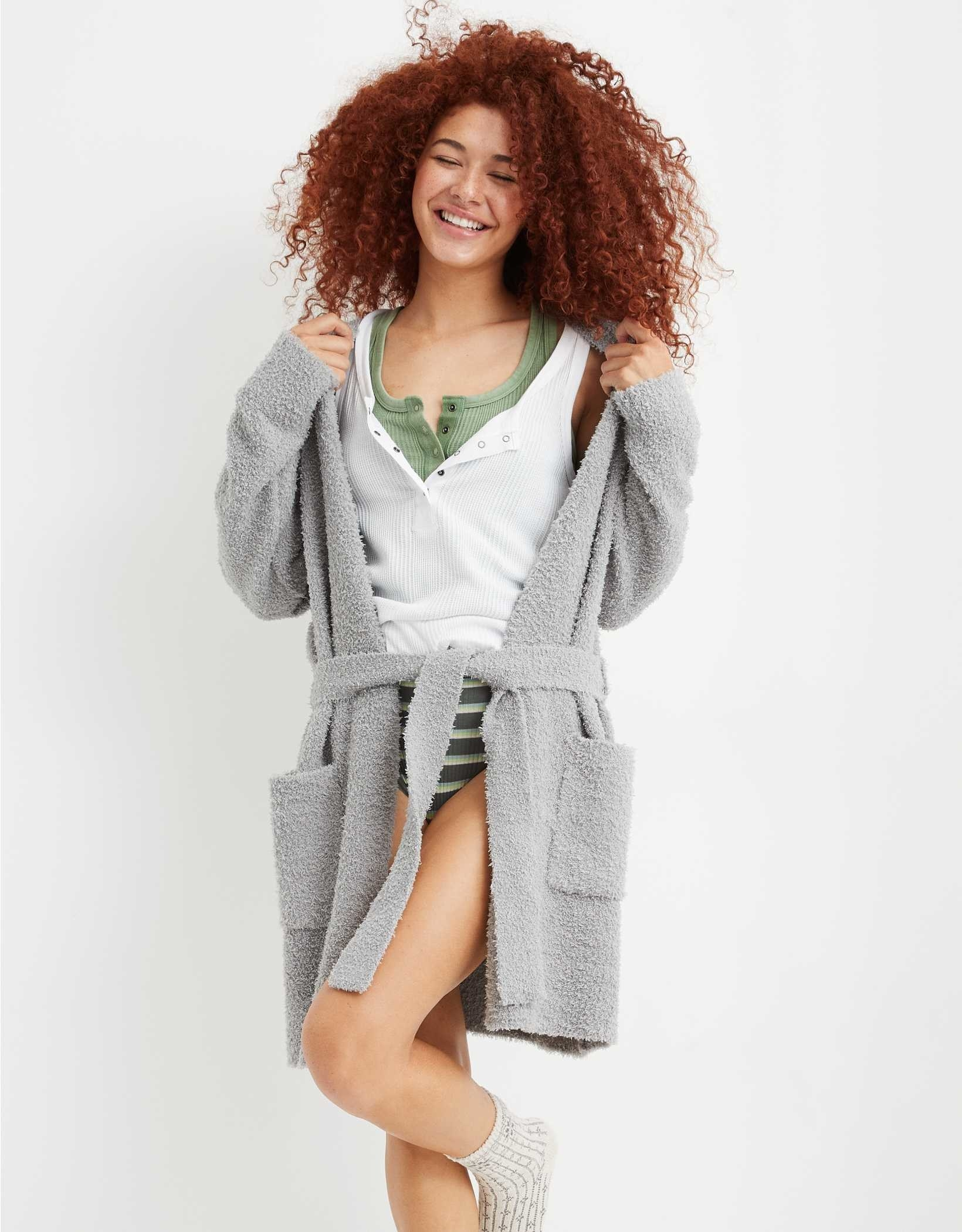Model wearing the grey sleepigan
