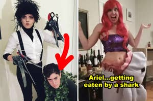 Someone as a bush next to Edward Scissorhands and another as Ariel getting eaten by a fake shark