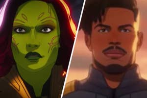 """A close up of Gamora and Killmonger from the show """"What If...?"""""""