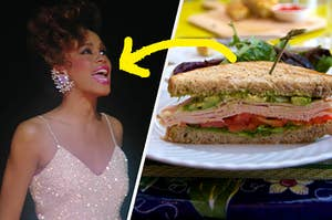 A close up of Whitney Houston as she wears a sparkly gown and a half sandwich sits on a plate