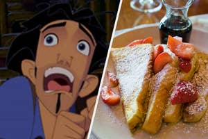 """A close up from Tulio from the movie """"The Road to El Dorado"""" and a plate of strawberry covered French toast"""