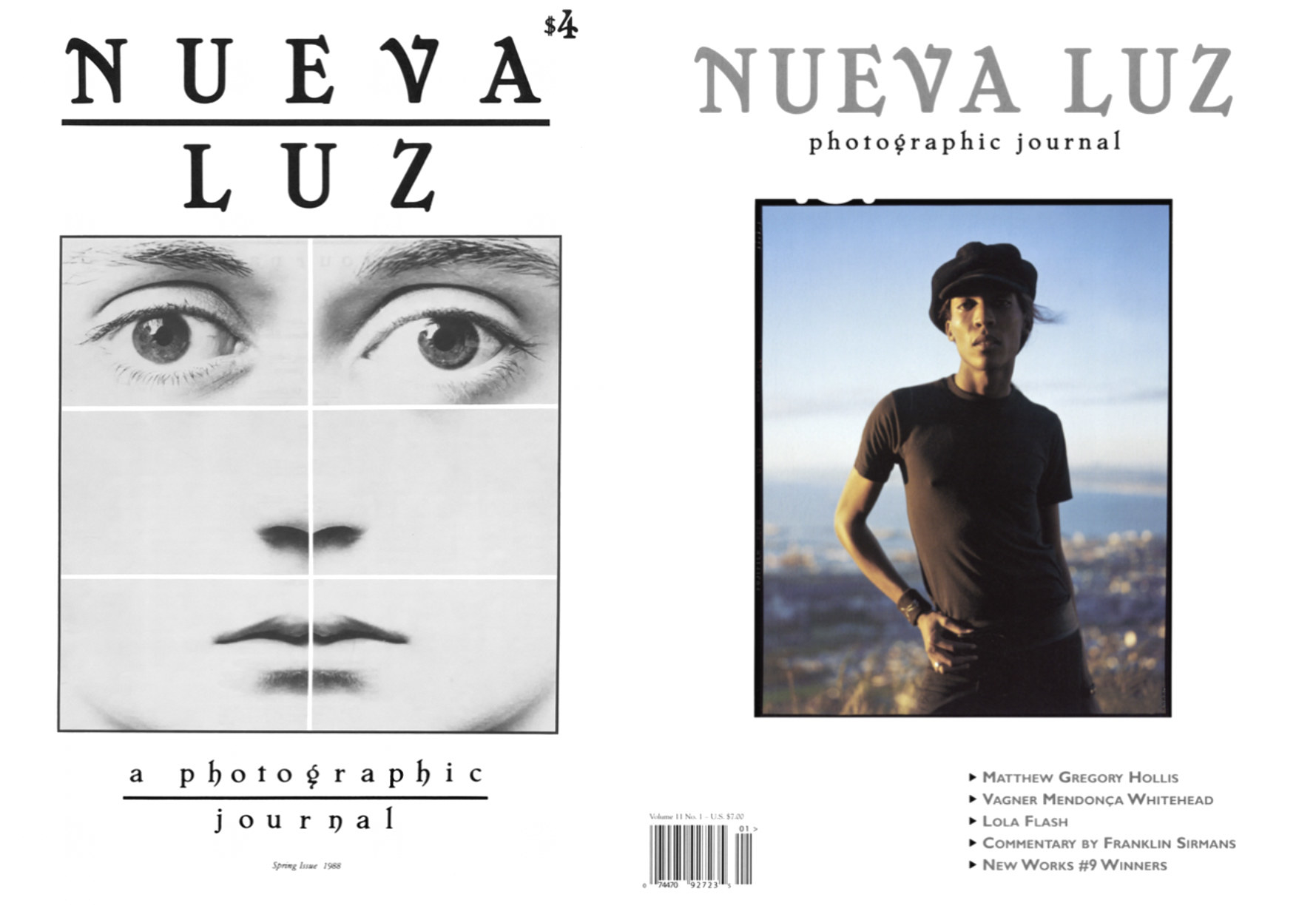 Two magazine covers of Nueva Luz, the left with a collage of six photographs, the right with a single figure with a view behind him