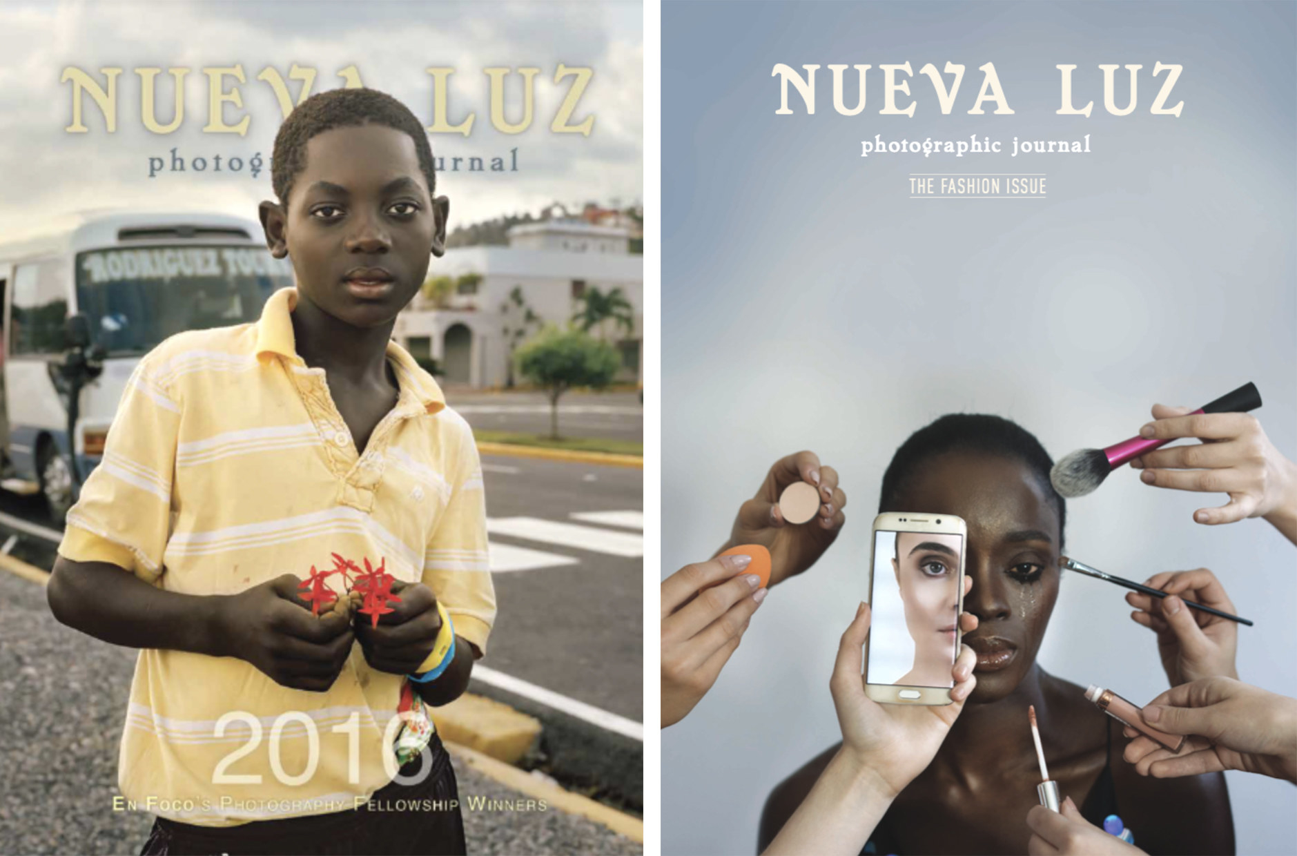 Two magazine covers, the left with a young boy in a polo shirt, the right with a woman who has makeup and a phone showing another woman up to her face