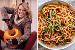 On the left, Kate McKinnons carving a pumpkin in an SNL sketch, and on the right, a bowl of spaghetti with zucchini and marinara sauce