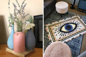A set of colorful vases and a colorful rug with an illustrated eye on it