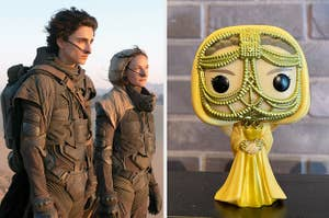 timothée chalamet and rebecca ferguson in dune and a funko pop of Lady Jessica