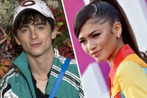 Timothée Chalamet and Zendaya are pictured side-by-side in this split image