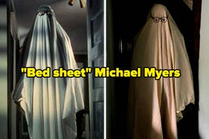 Person wearing a bed sheet with glasses over
