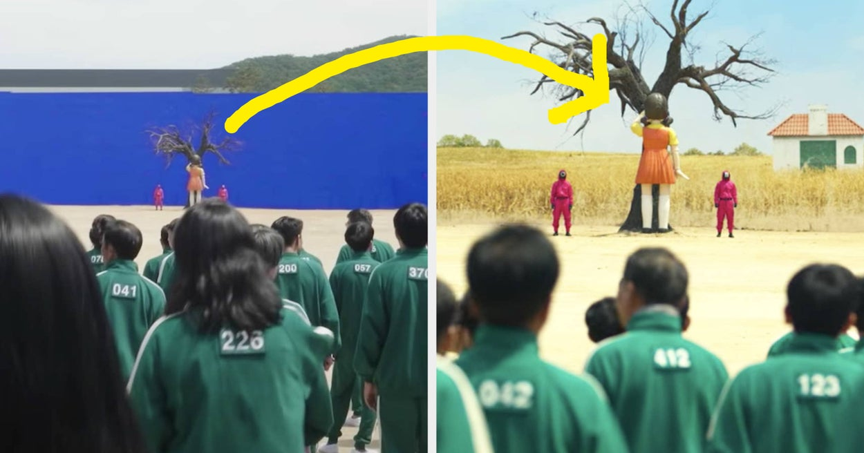 """31 """"Squid Game"""" Moments Vs. Behind-The-Scenes Photos That Show What It Was Like To Film The Series"""