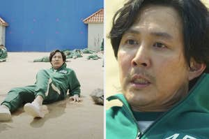 Lee Jung-jae filming a scene vs the final moment in Squid Game